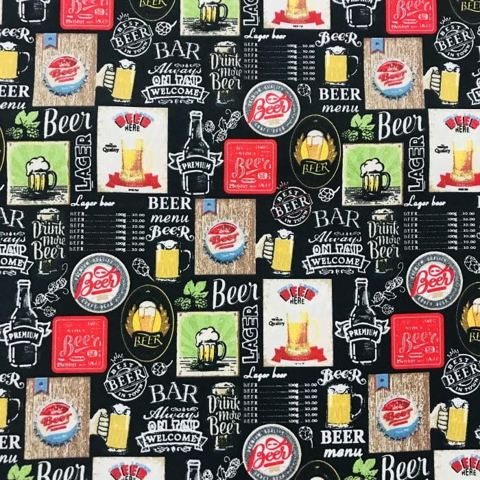 Tecido Tricoline Cerveja Preto