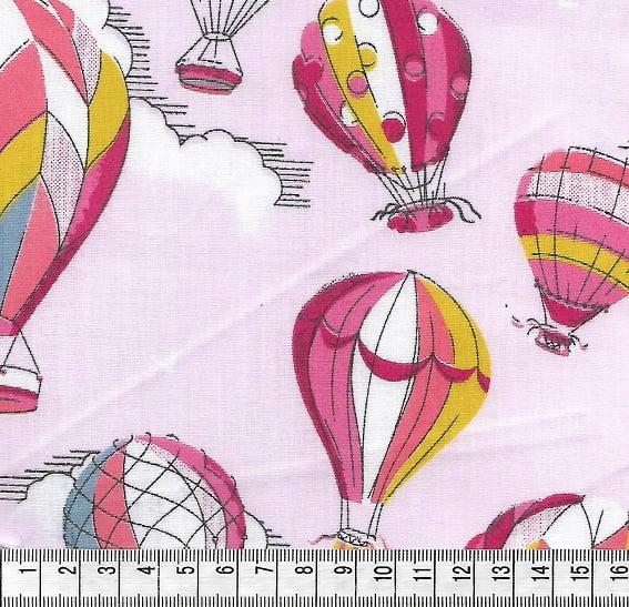 Tecido Tricoline Balões Médios Rosa