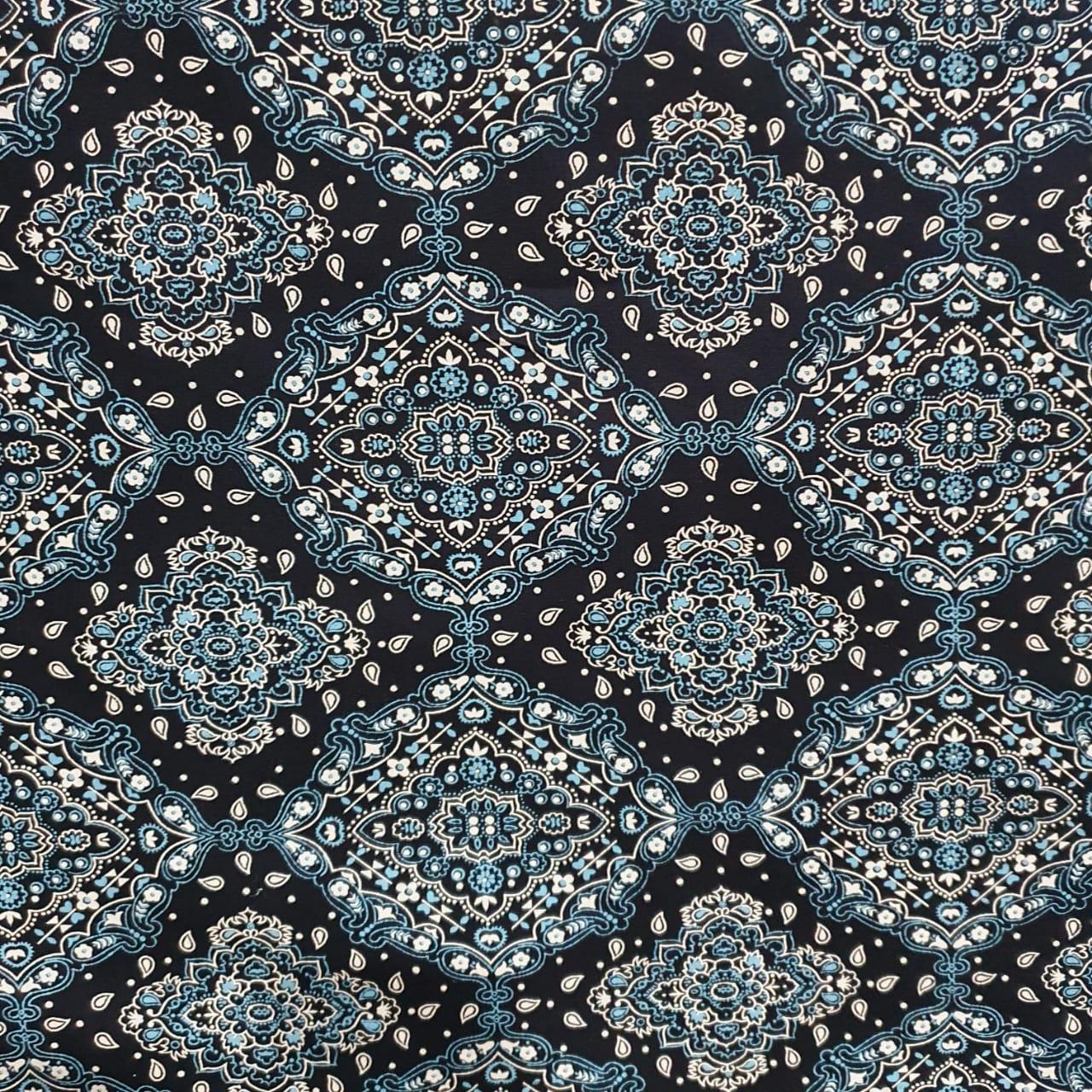 Tecido Tricoline Bandana Azul