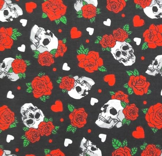 Tecido Tricoline Caveiras e Rosas Vermelhas