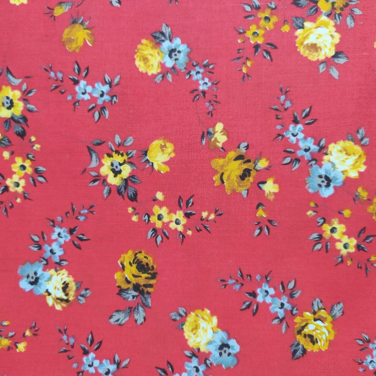 Tecido Tricoline Florzinha Amarela e Cinza Fundo Vermelho