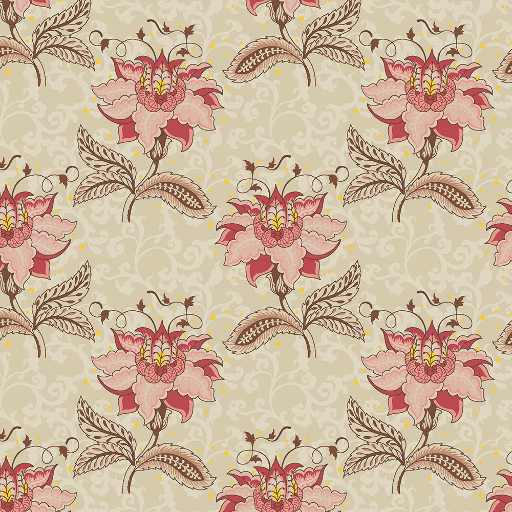 Floral Arabesque Jacobean Creme