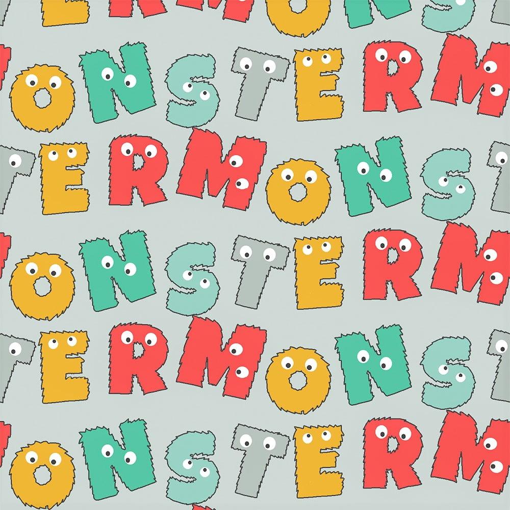 Tecido Tricoline Monsters Letras