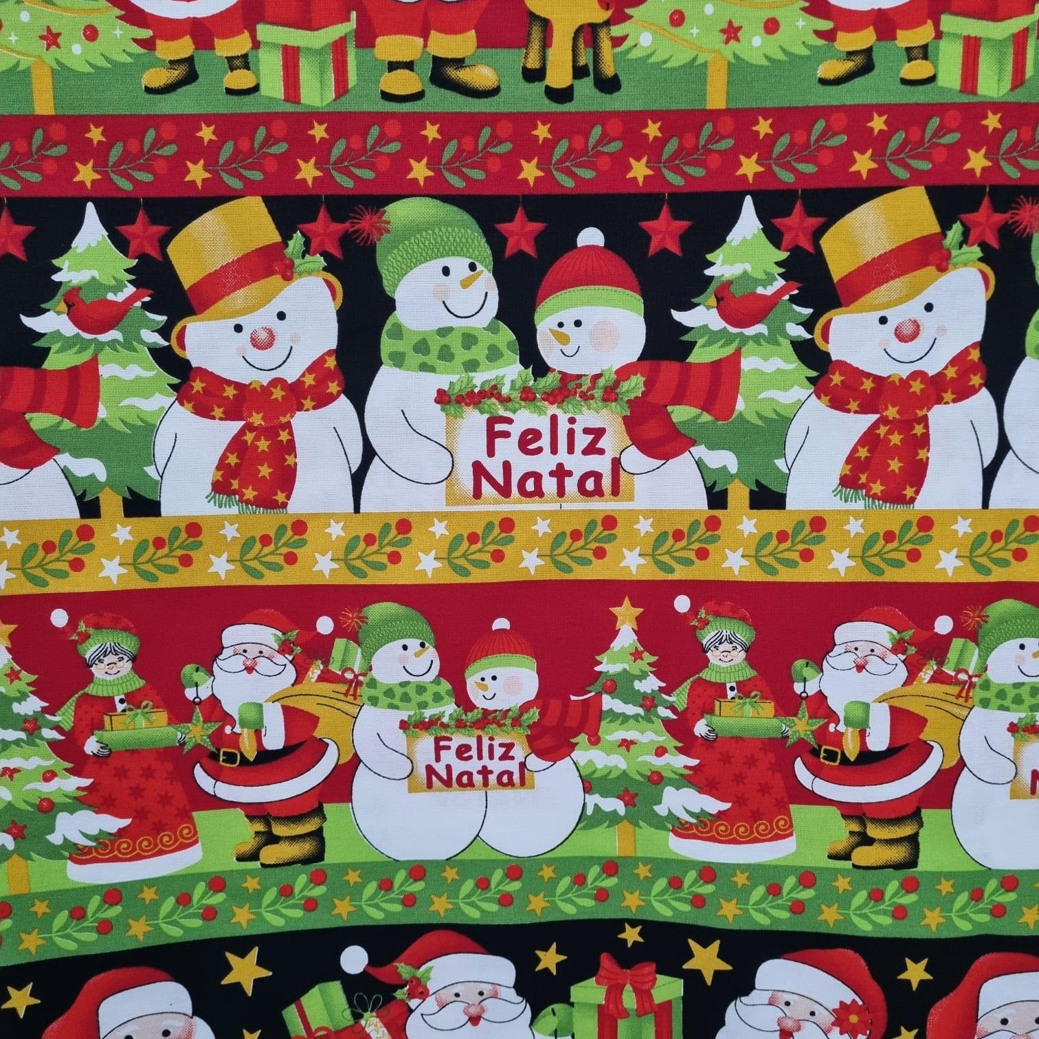 Tecido Tricoline Barrado Feliz Natal 2