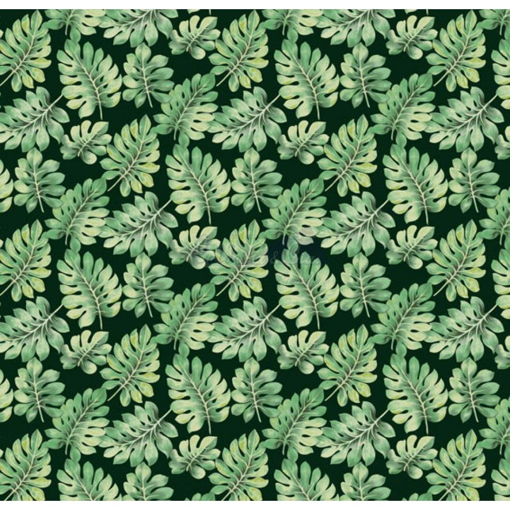 Tecido Tricoline Costela de Adão Verde e Preto Of