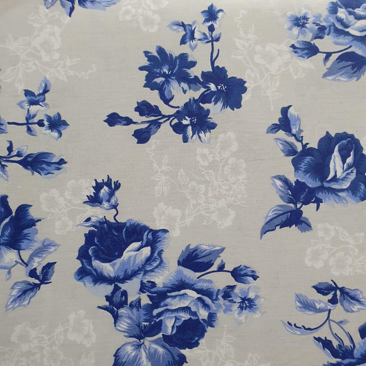 Floral Azul Fundo Cinza Of