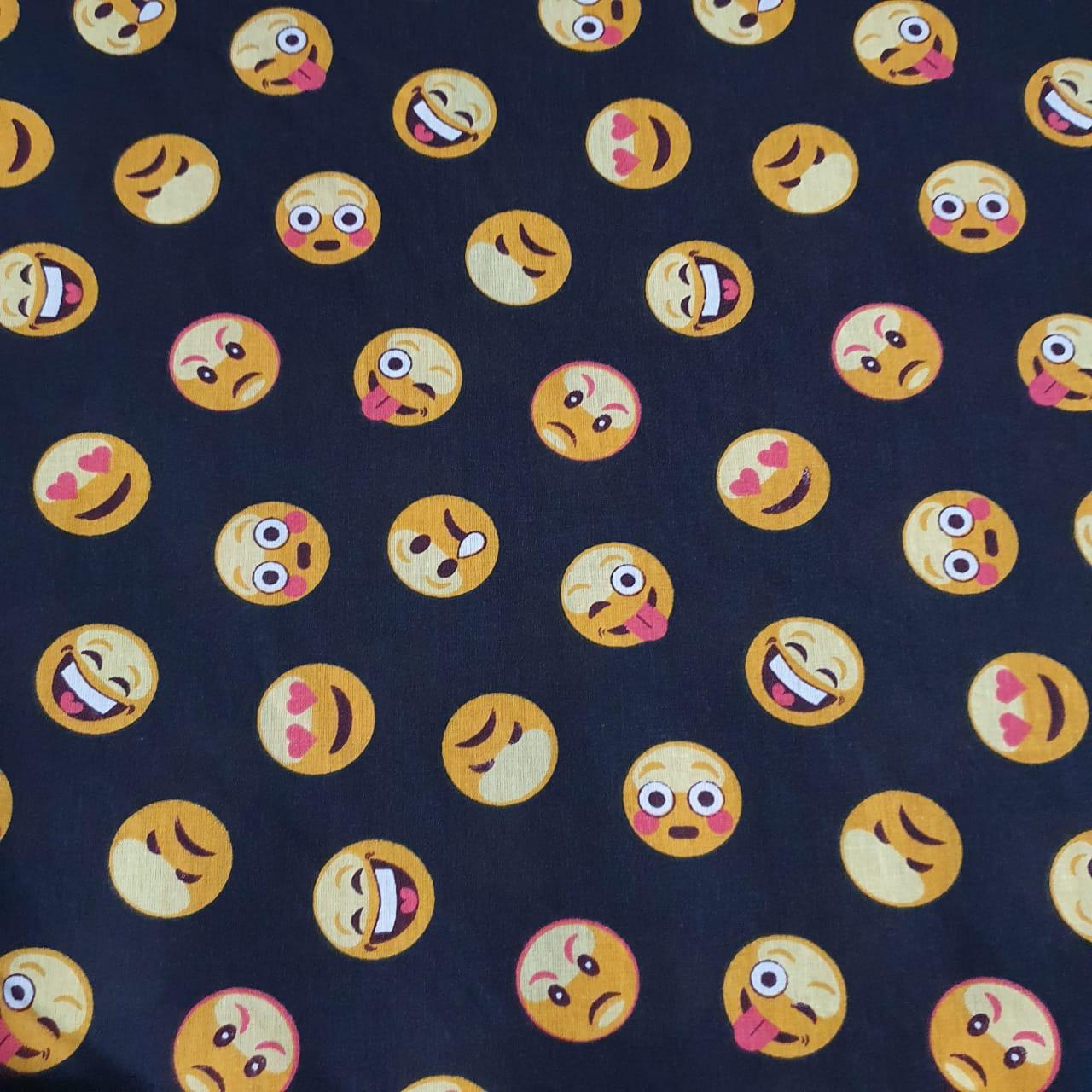 Tecido Tricoline Emoji Preto
