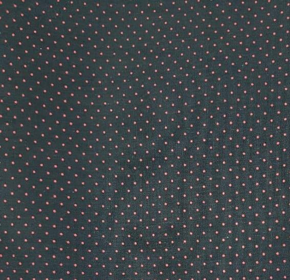 Tecido Tricoline Poá Preto com Bola Vermelha