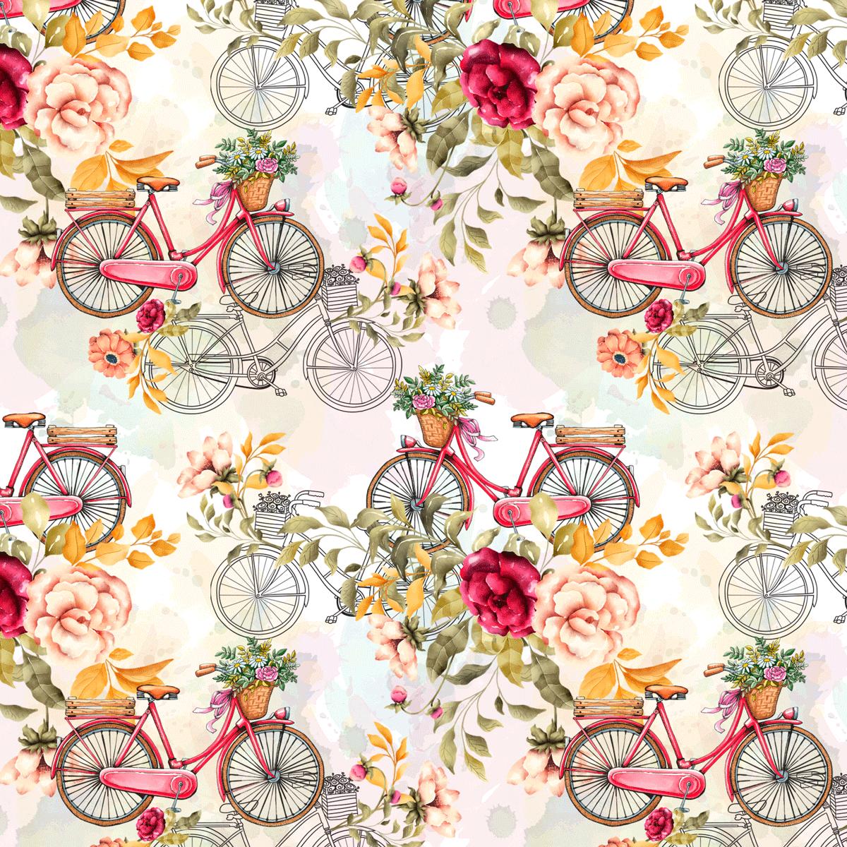 Tecido Tricoline Bike e Flores