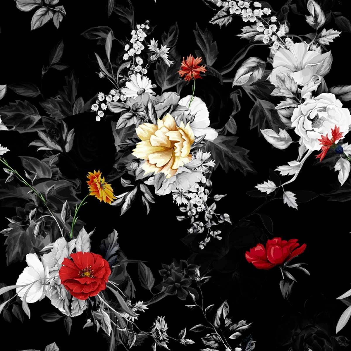 Tecido Tricoline Flores Fundo Preto 2