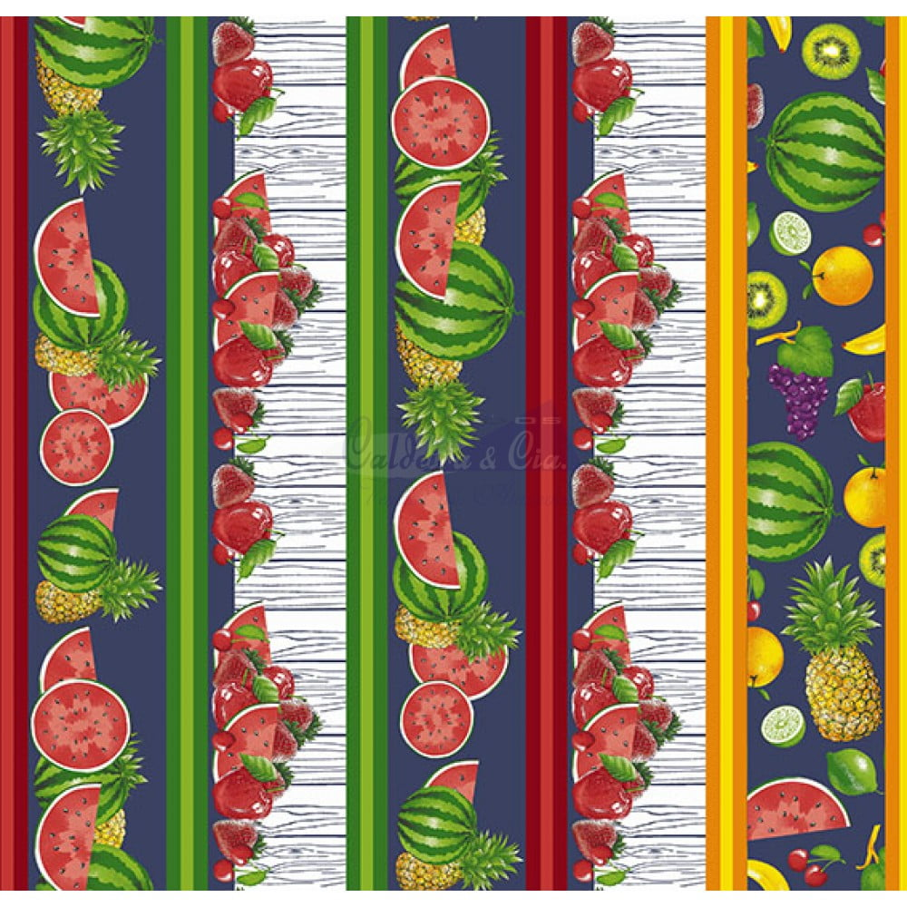 Tecido Tricoline Barrado Salada De Frutas Azul