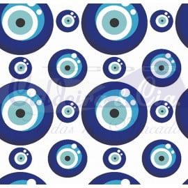 Tecido Tricoline Coleção Talismã - Olho Grego Azul