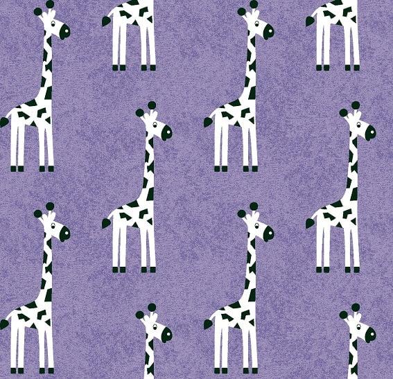 Tecido Tricoline Girafa Lilás