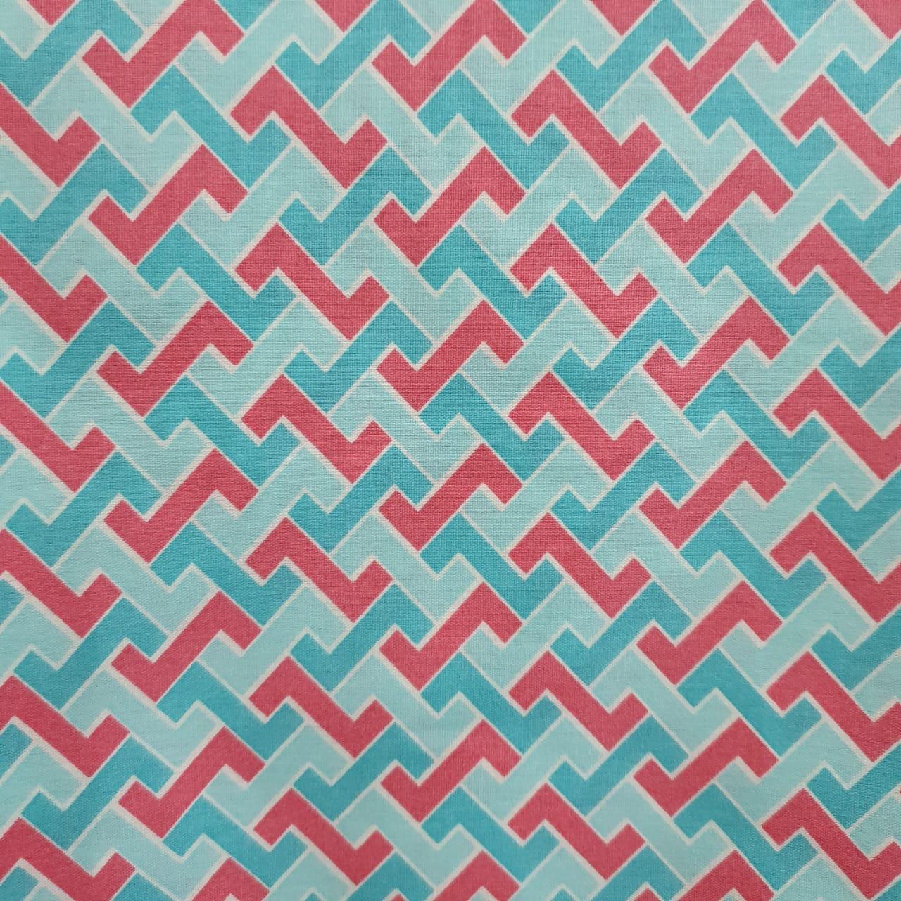 Tecido Tricoline Tetris Tiffany