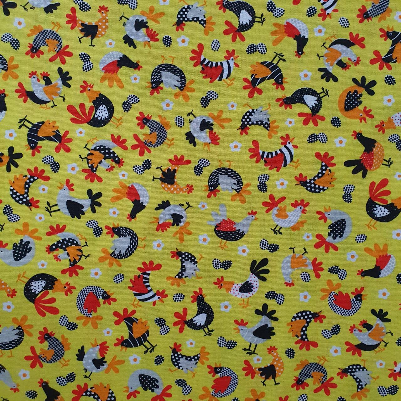 Tecido Tricoline Galinha Amarela