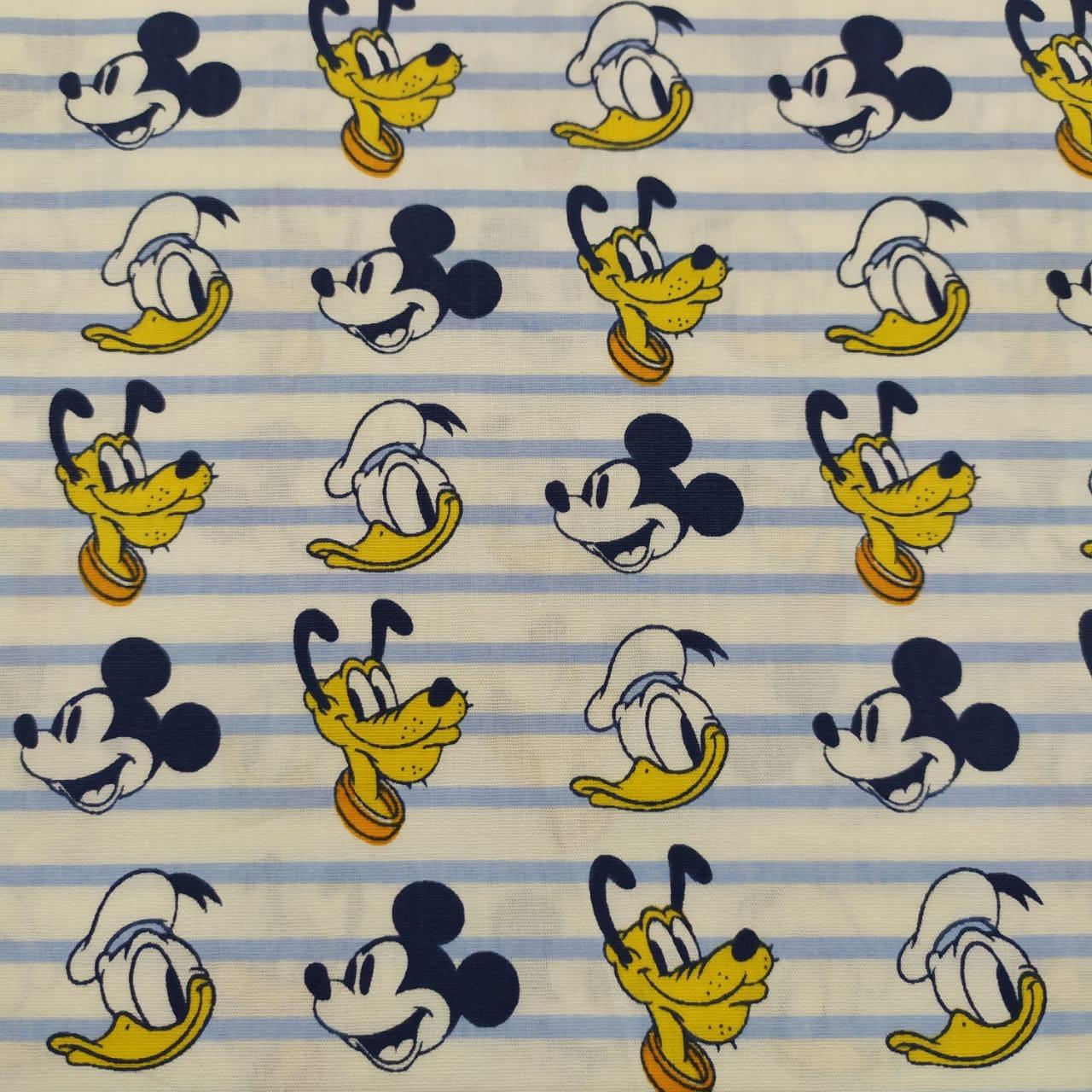 Tecido Tricoline Mickey, Pluto e Donald