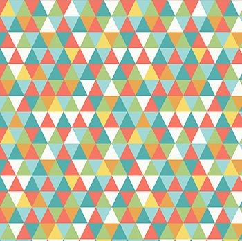 Tecido Tricoline Geométrico Laranja e Azul