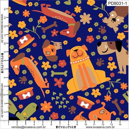 Tecido Tricoline Pet Dog Azul