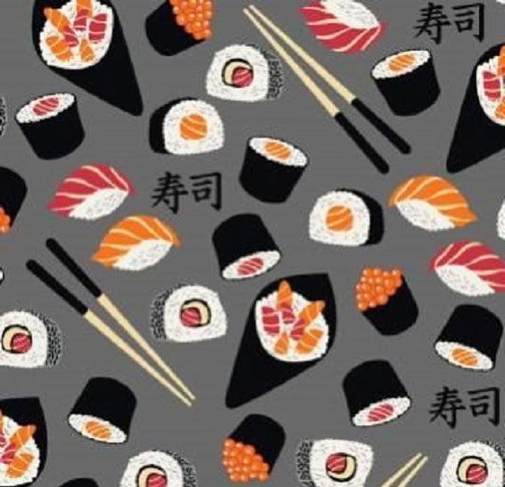 Sushi Fundo Cinza