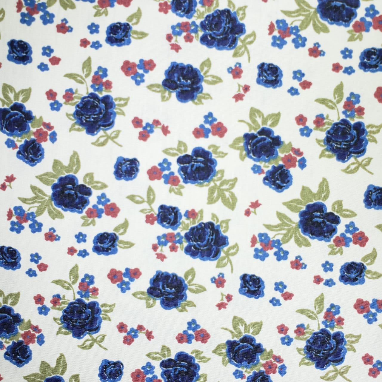 Flores Azuis Fundo Bege