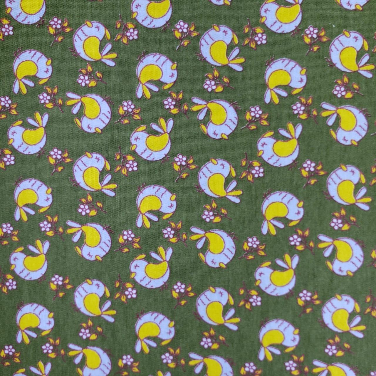 Tecido Tricoline Pássaros fundo Verde