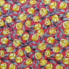 Tecido Tricoline Botões Amarelos Fundo Vermelho