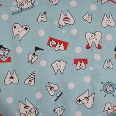 Tecido Tricoline Dentinhos
