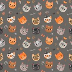 Tecido Tricoline Cat Lovers  - Cat 2