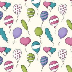 Tecido Tricoline Mini Balões creme