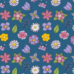 Tecido Tricoline Mini Flower Azul
