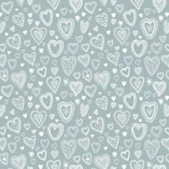 Tecido Tricoline Multi Corações Cinza