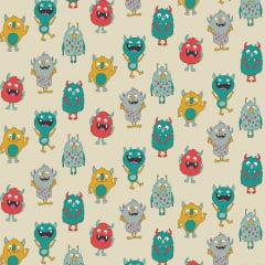 Tecido Tricoline Mini Monsters