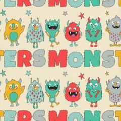 Tecido Tricoline Monsters Names