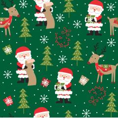 Tecido Tricoline Papai Noel Verde