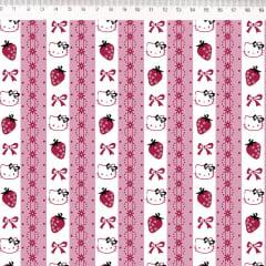Tecido Tricoline Hello Kitty Barrado