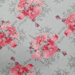 Tecido Tricoline Floral Cinza e Rosa Medio OF
