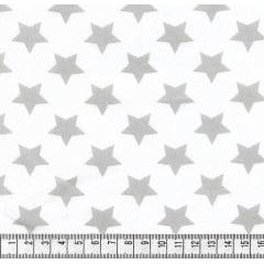 Tecido Tricoline Estrelas Cinza