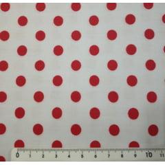Tecido Tricoline Bolas Vermelhas Fundo Branco