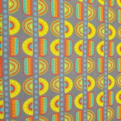 Tecido Tricoline Geométrico Amarelo e Cinza