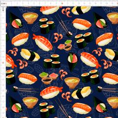 Tecido Tricoline Sushi Azul