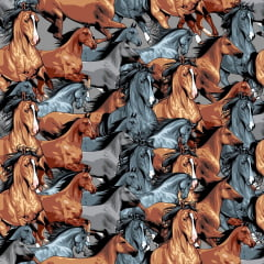 Tecido Tricoline Cavalos M