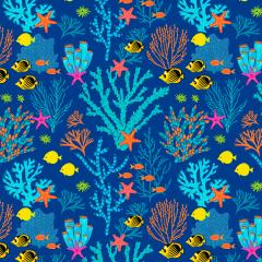 Tecido Tricoline Corais e Peixes