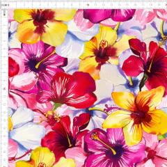 Tecido Tricoline Flores Coloridas