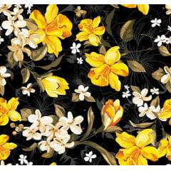 Tecido Tricoline Flores Amarelas Fundo Preto
