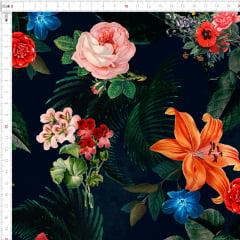 Tecido Tricoline Flores Fundo Preto 1