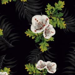 Tecido Tricoline Flores Fundo Preto 3