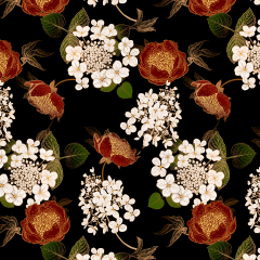 Tecido Tricoline Flores M Fundo Preto