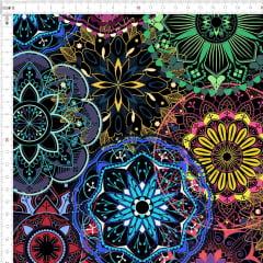 Tecido Tricoline Mandala Colorida