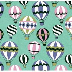 Tecido Tricoline Balões Tiffany
