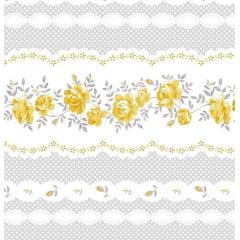 Coleção Composê - Barrado Rosas Amarelo